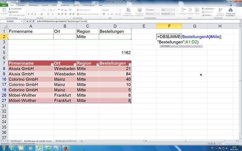 Excel Datenbankfunktionen