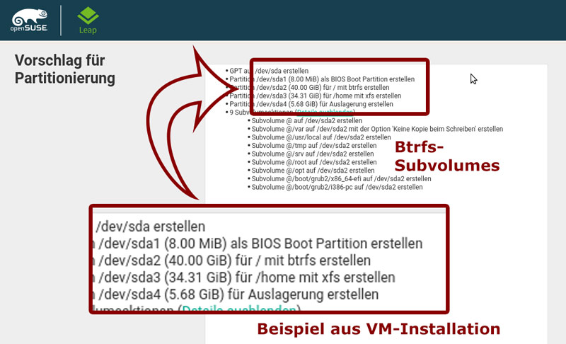 btrfs partitionierung os 150